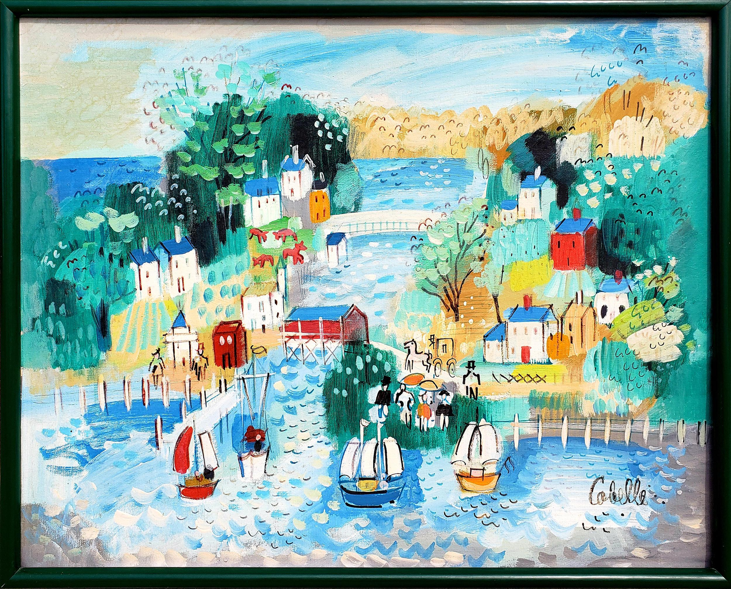 Charles Cobelle, Village Sailing Scene with Covered Bridge, Acrylic Painting