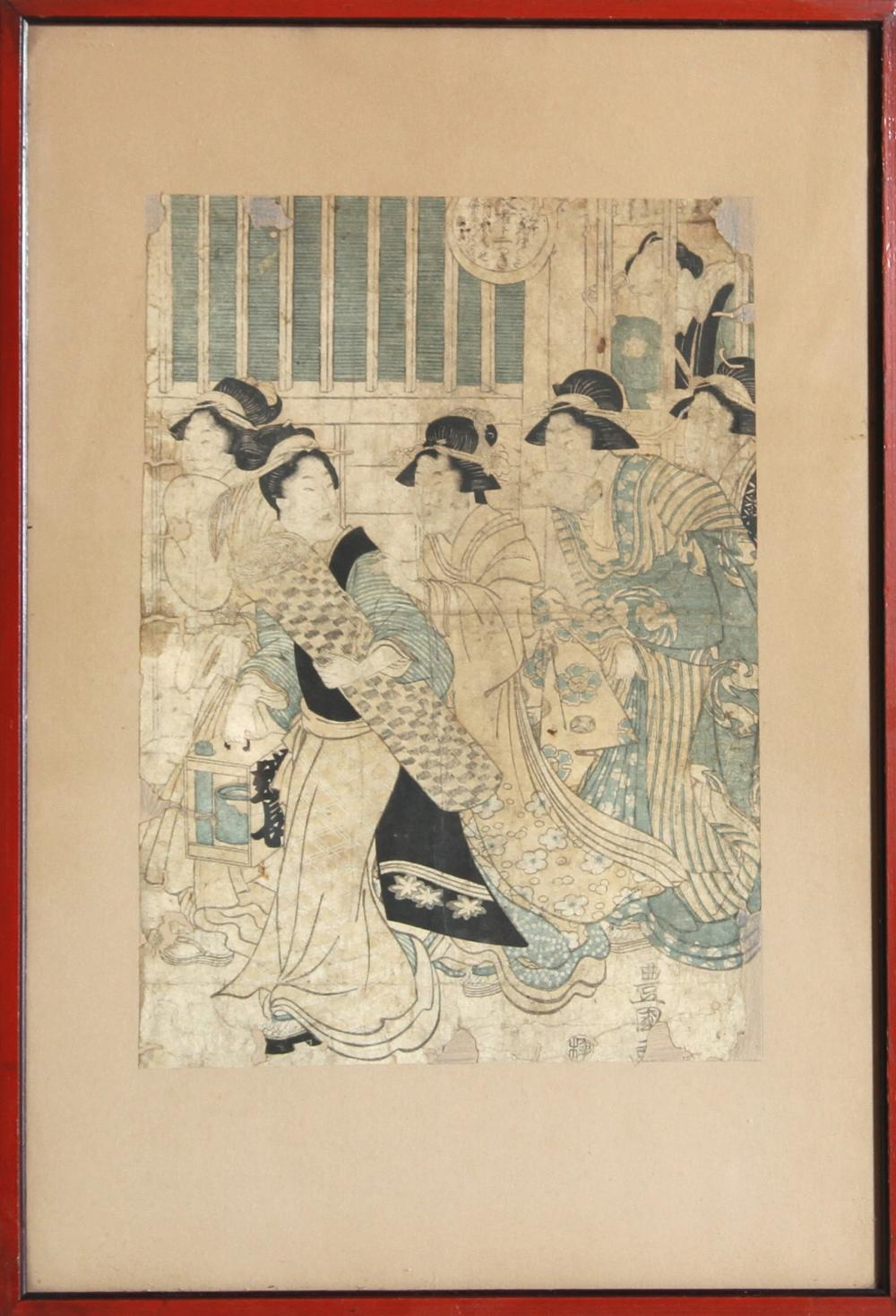 Japanese Five Geishas in Interior, Woodblock
