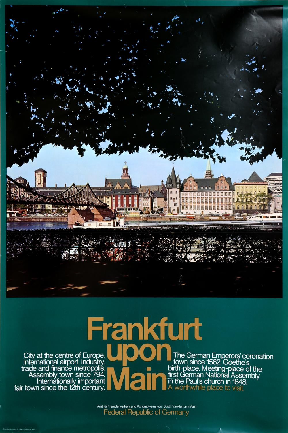 Travel Poster, Frankfurt Upon Main - Federal Republic of Germany (Green), Poster