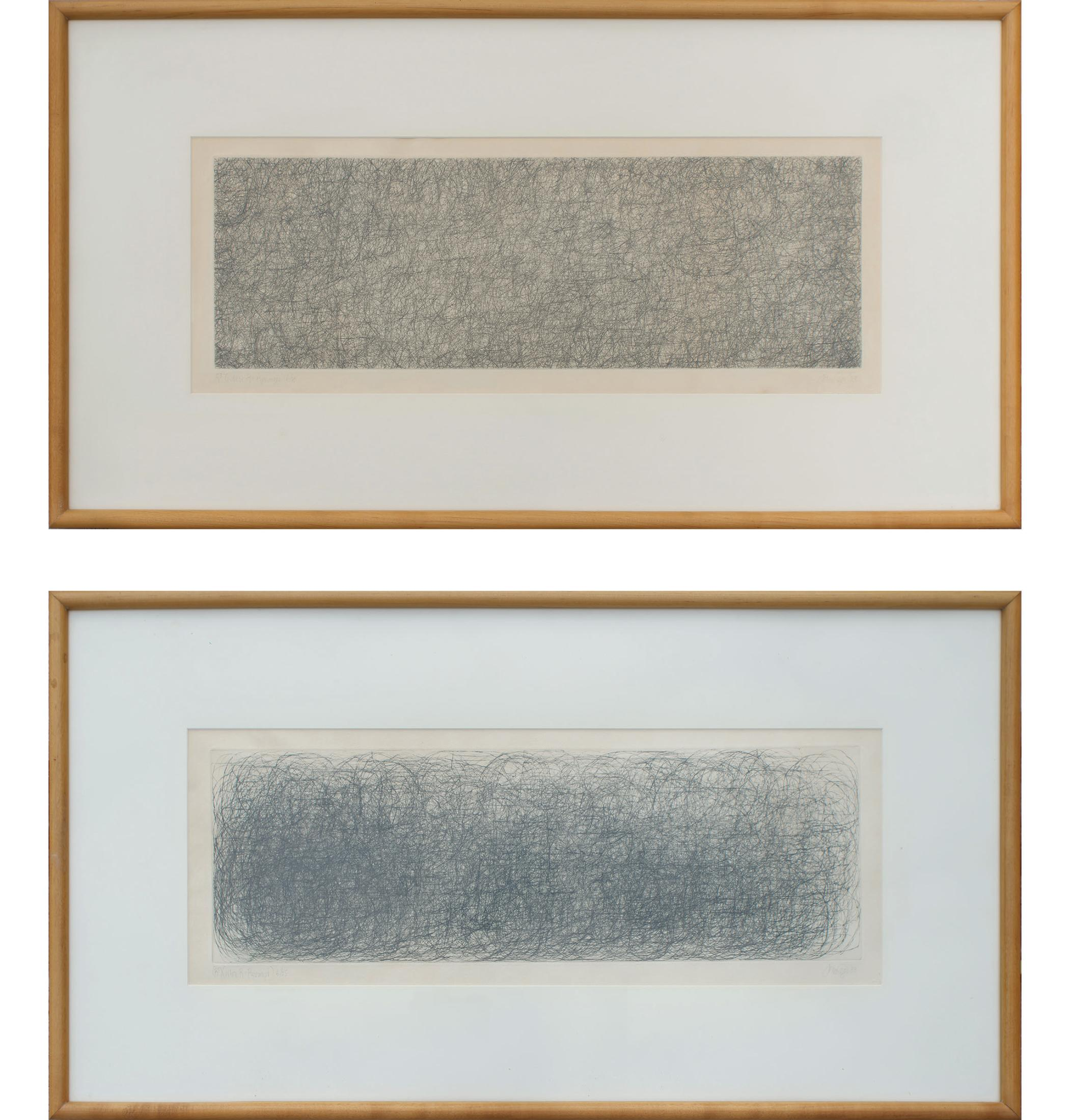 John Cage, R^3 Where R = Ryoanji, Diptych of Two Drypoint Etchings