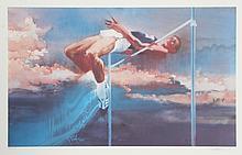 Robert Peak, High Jump, Visions of Gold Olympic Portfolio, Lithograph