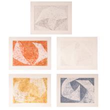 William Fares, Tempered Portfolio of 5 Minimalist Geometric Aquatint Etchings