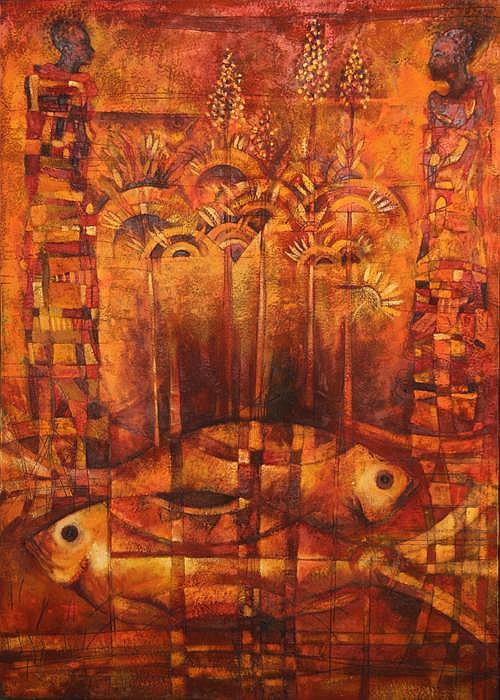 Tomas Pineda Matus, Dos Peces, Oil Painting