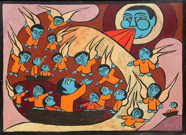 Raimundo de Oliveira, Jonah and the Whale, Oil Painting