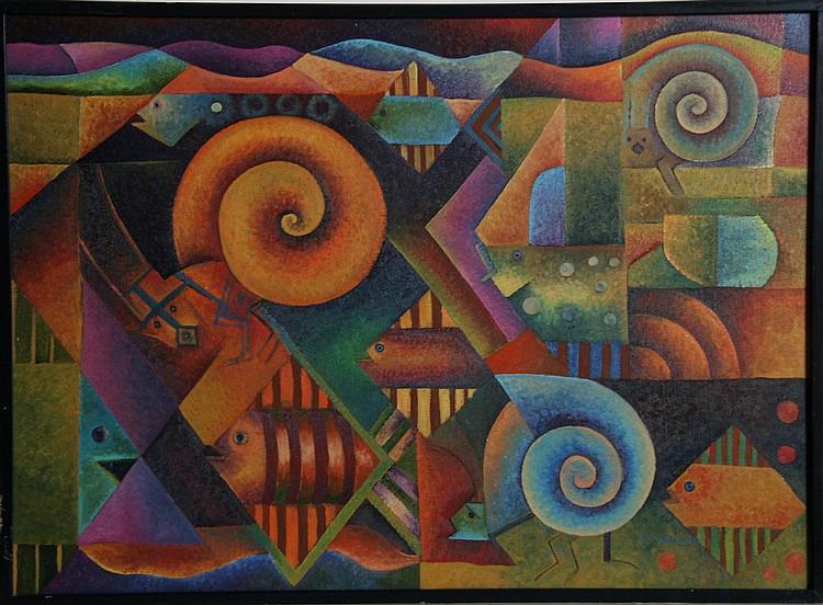 Tomas Pineda Matus, Encuentro Cotidiano, Oil Painting
