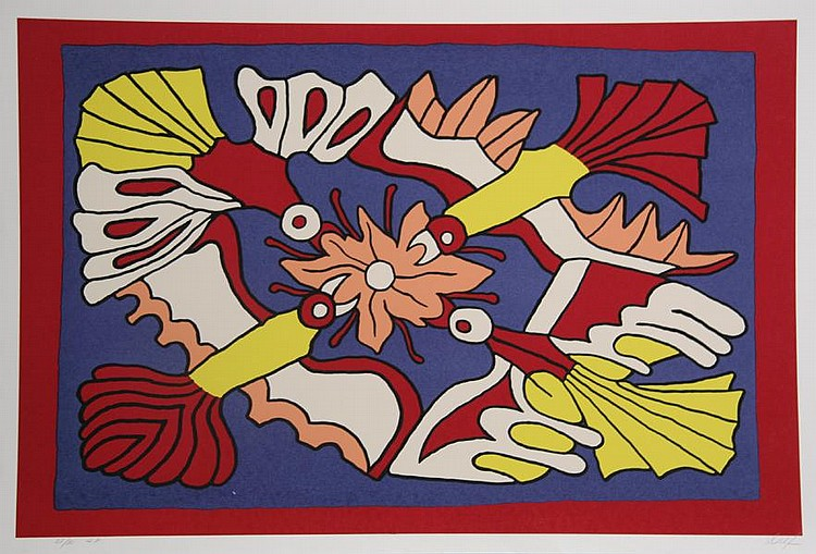 Victor Delfin, Four Red Birds and a Flower, Silkscreen