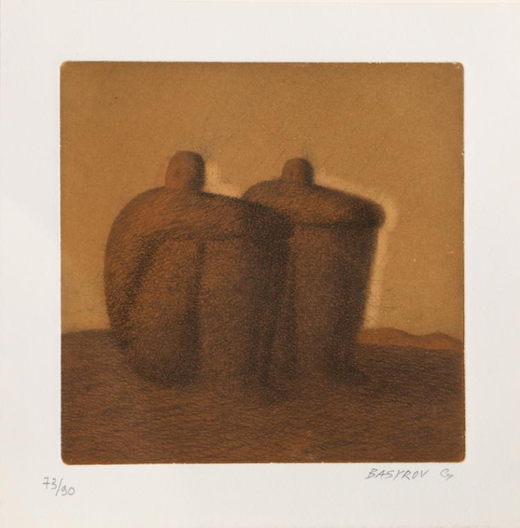 Garif Basyrof, Two Seated Men, Aquatint Etching