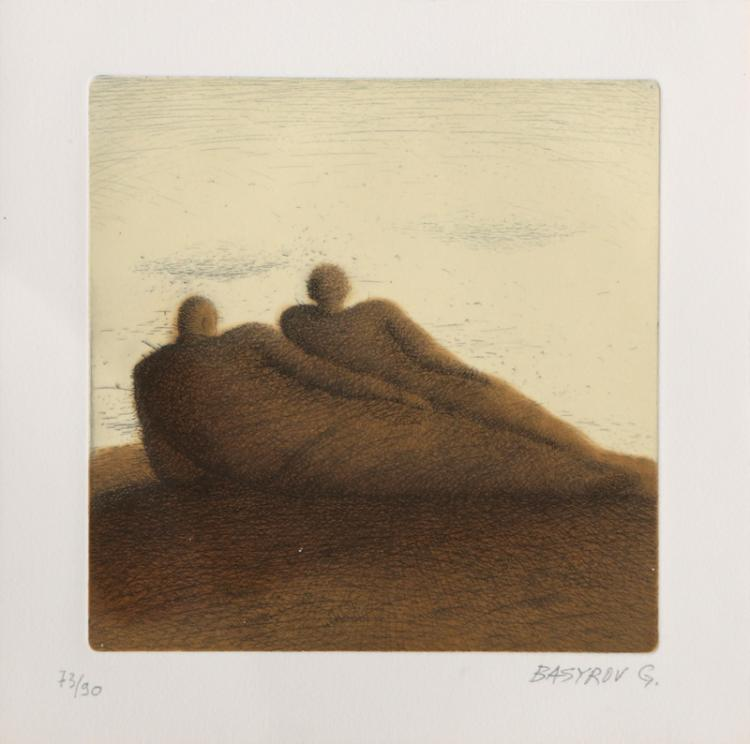 Garif Basyrof, Two Reclining Men, Aquatint Etching