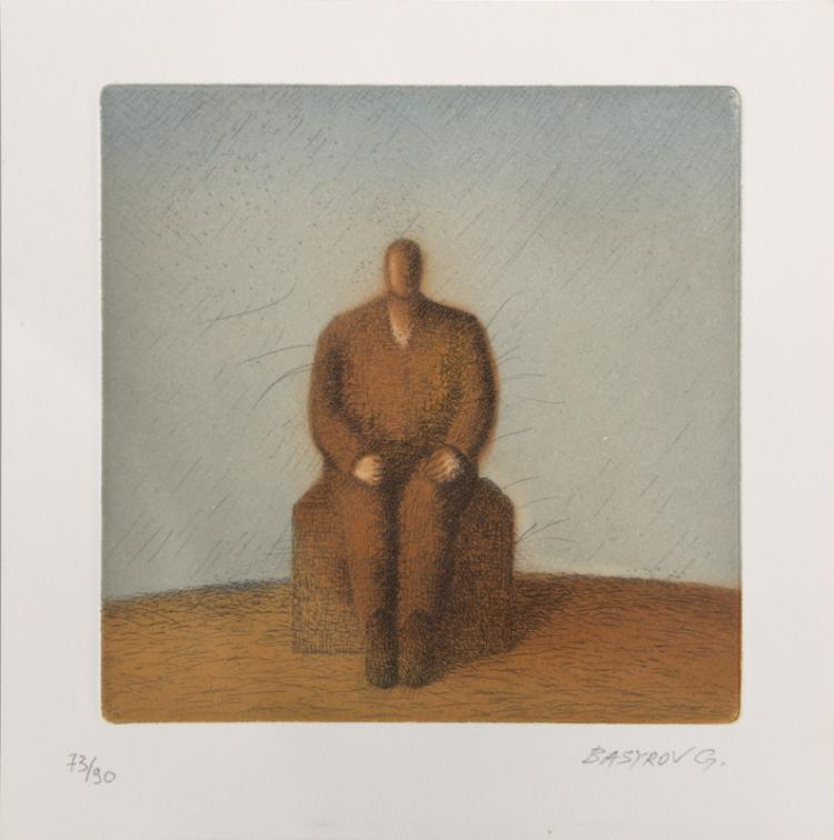 Garif Basyrof, Seated Man, Aquatint Etching