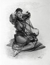 Jon Hul, Whisper (Bettie Page), Pencil Drawing