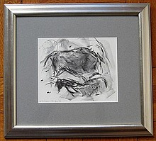 Elaine de Kooning, Two Bulls, Lithograph
