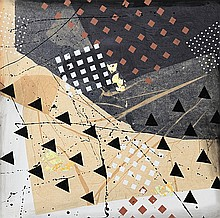 Frank Rowland, Abstract Geometric Painting and Collage