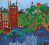 Edward Sokol, Brooklyn Backyards, Oil Painting, Edward Sokol, Click for value