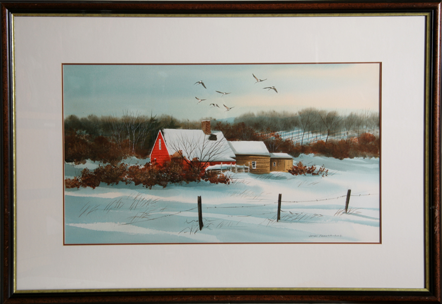 James Feriola, Barn in the Snow, Watercolor