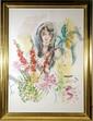 Wayne Ensrud, Lady in Flowers, Watercolor, Wayne Ensrud, Click for value