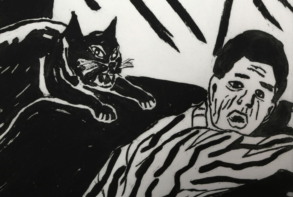 Richard Bosman, Revenge of the Cat, Sugarlift Etching