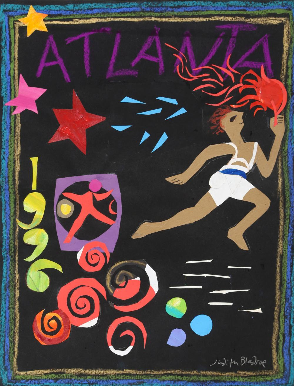 Judith Bledsoe, Atlanta Olympics - Runner with Torch, Pastel and Collage on Paper