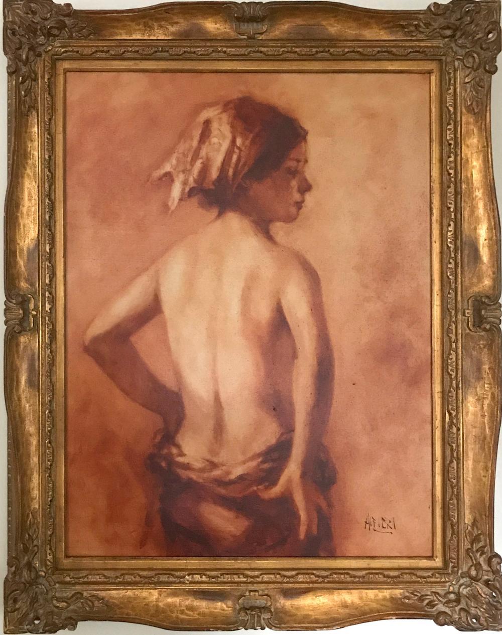 Philippe Alfieri, Back Nude Profile, Oil Painting