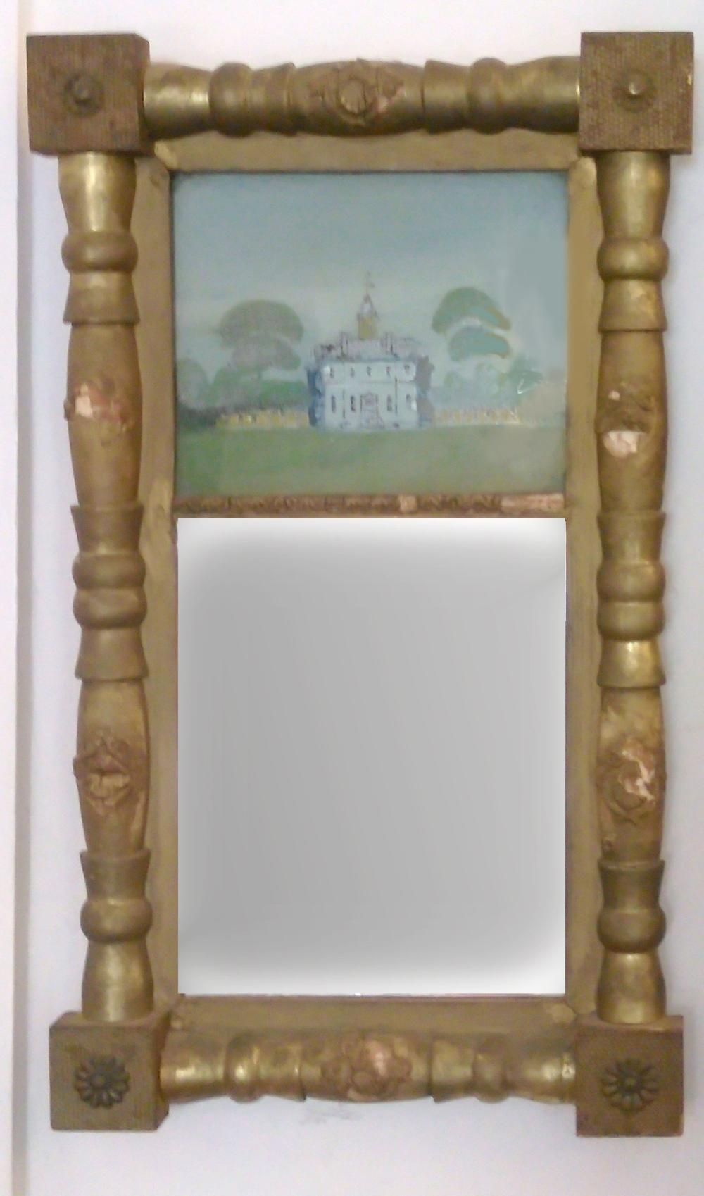 Village House, Eglomise Reverse Painting on Glass with Mirror