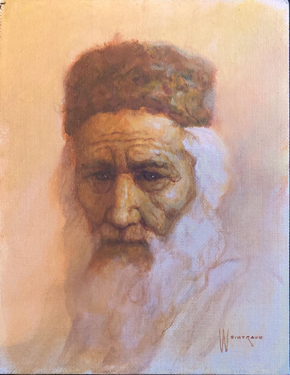 William Weintraub, Portrait of Man in Shtreimel, Oil Painting