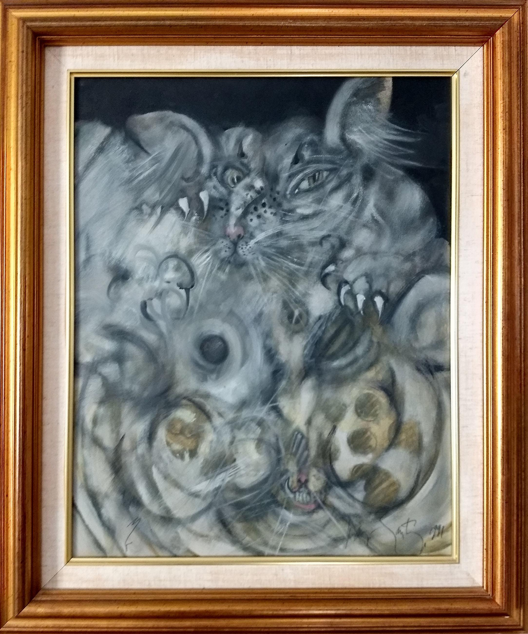 Ramon Santiago, My Two Cats, Oil Painting