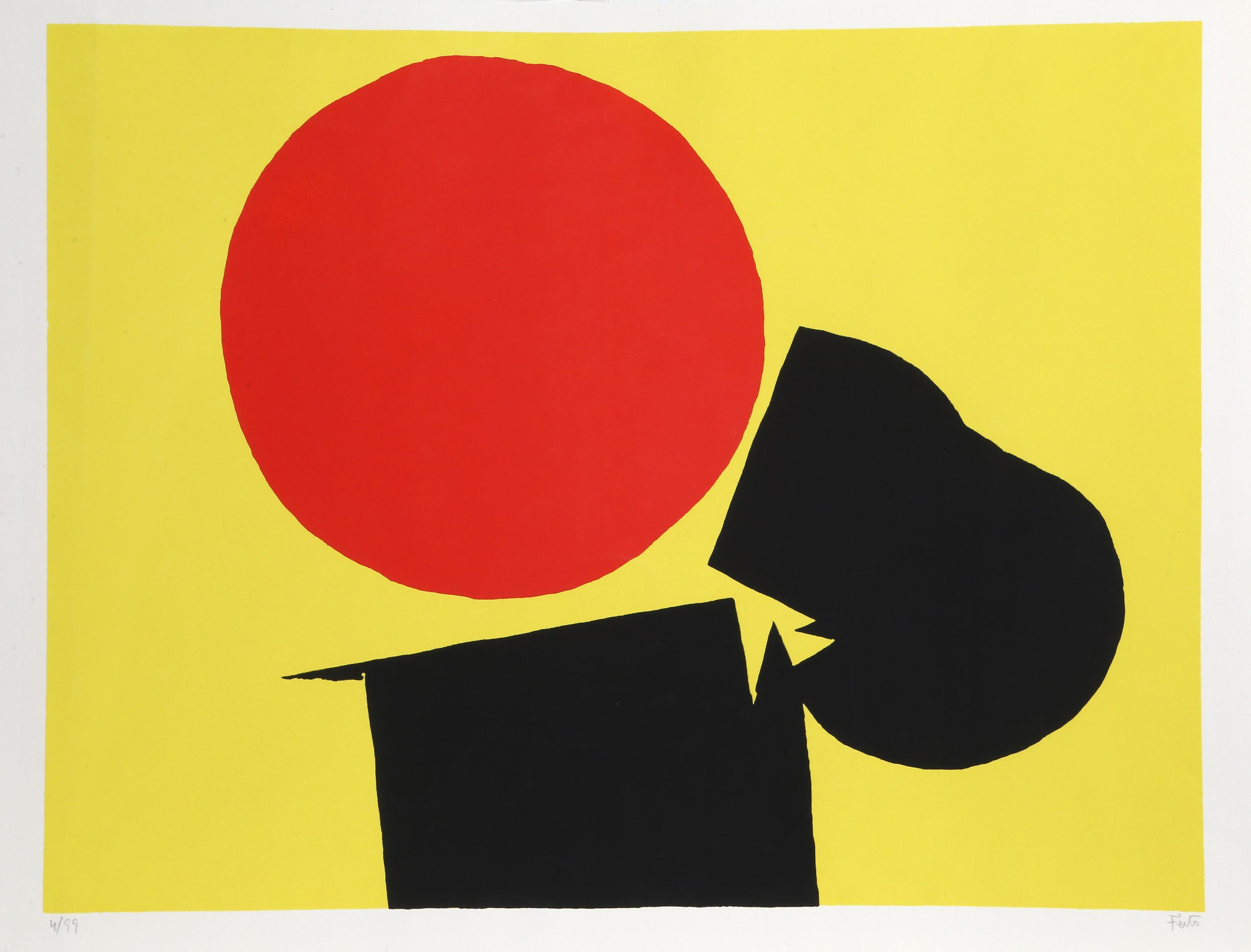 Luis Feito López, Abstract with Red Sun, Screenprint