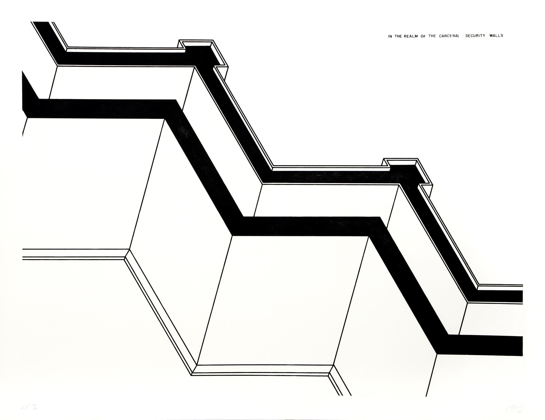 Robert Morris, Security Walls, Realm of the Carceral, Aquatint Etching