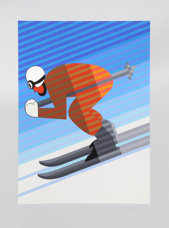 Victor Vasarely, Skier, Screenprint