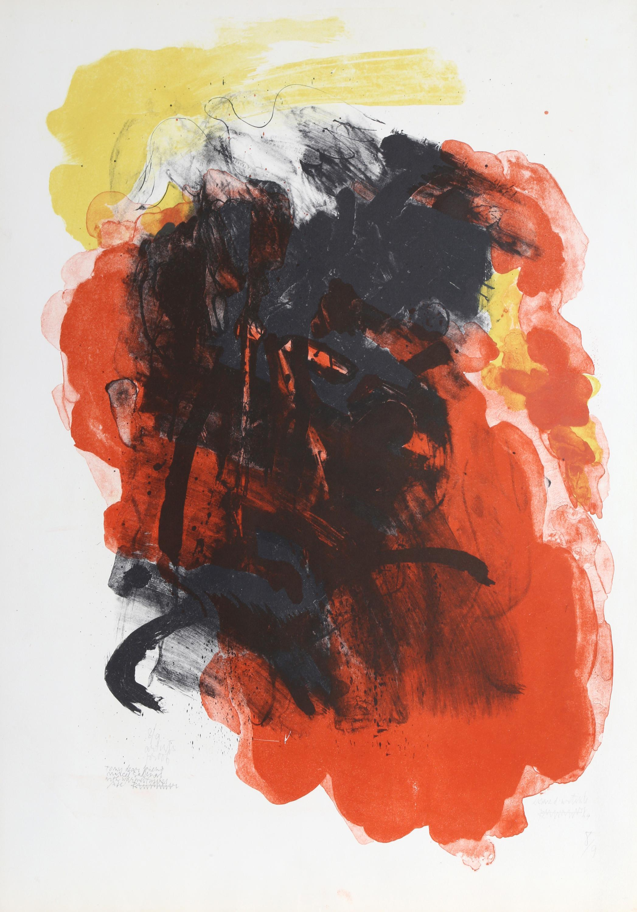 Abraham Rattner, Red Abstract, Lithograph