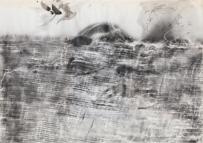 Josep Grau-Garriga, Landscape with Sunrise, Ink and Collage
