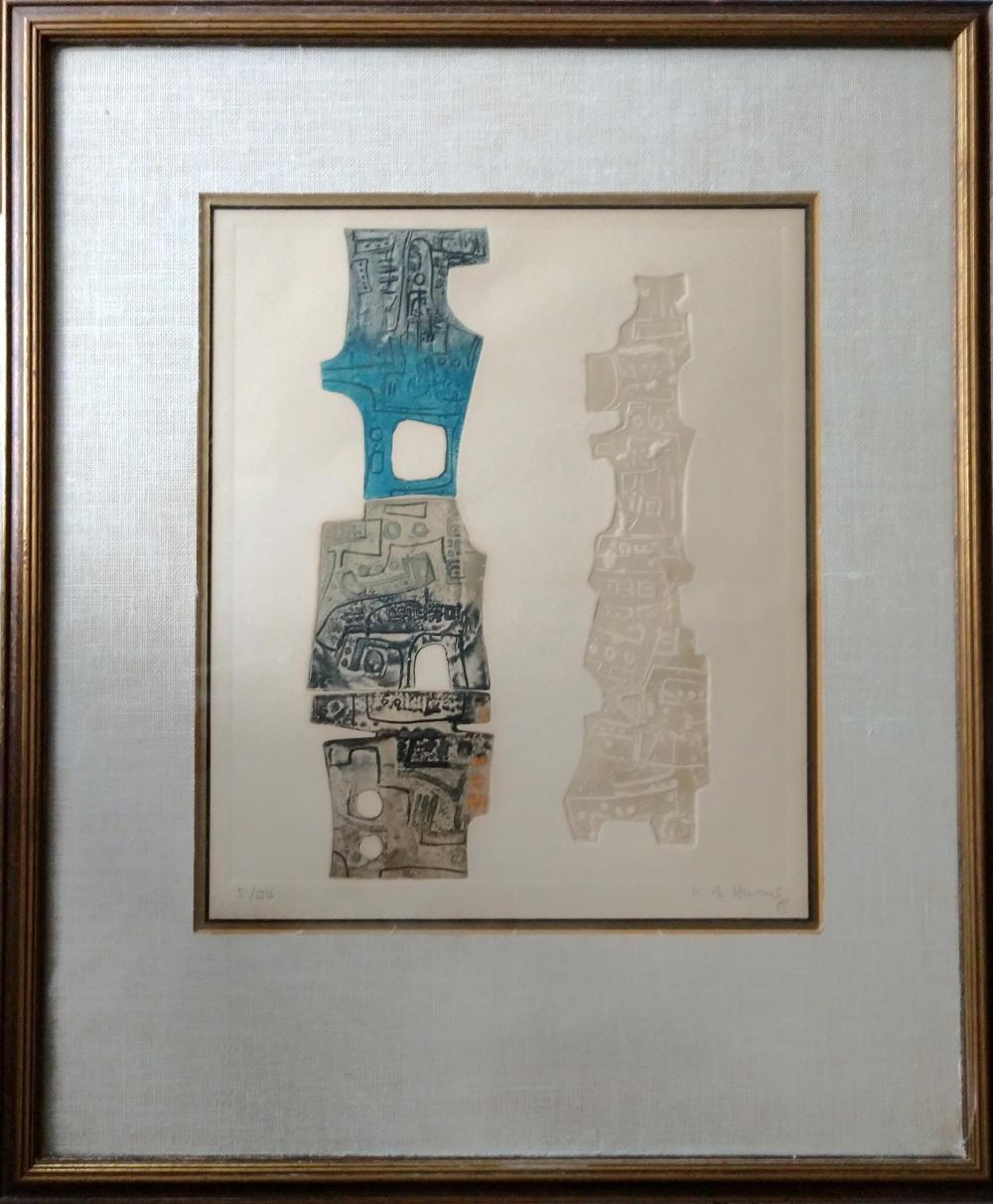K.B. Hwang, Abstract Towers, Intaglio Aquatint Etching