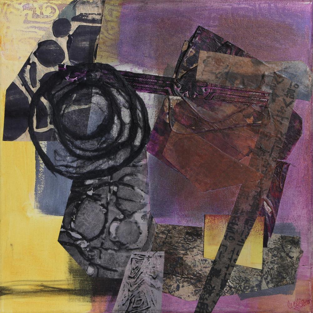 Cecilia Swatton, Abstract with Purple, Collage with Found Objects and Spraypaint