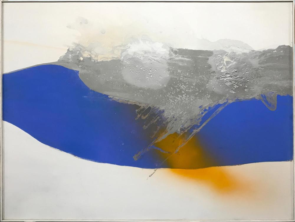 Cleve Gray, Blue Stream, Liquitex on Liquitex Gesso with Aluminum Painting