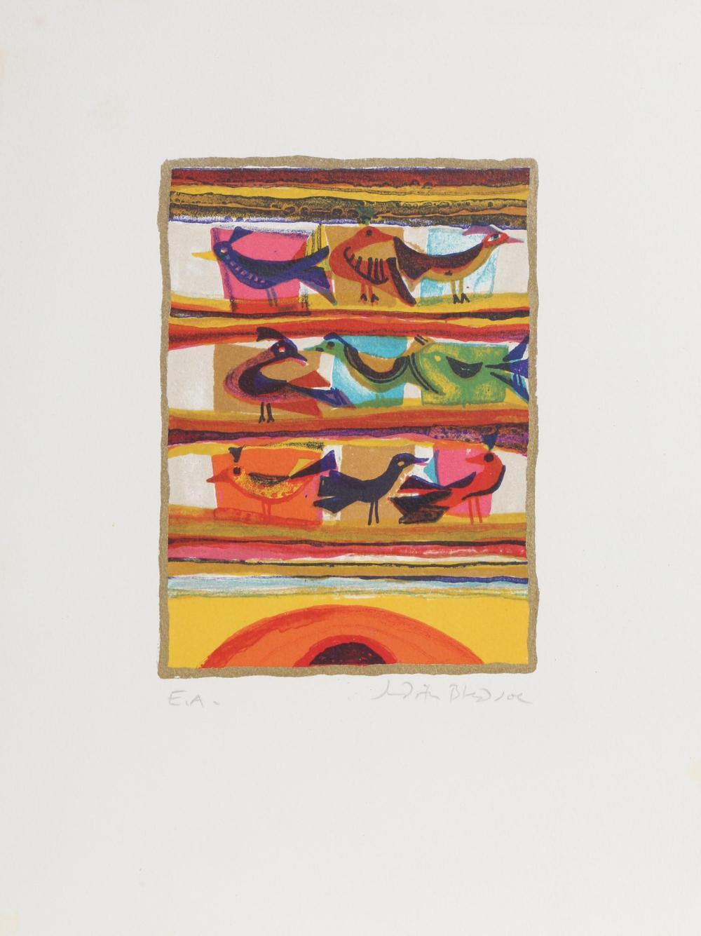 Judith Bledsoe, Nine Birds, Sunrise, Lithograph
