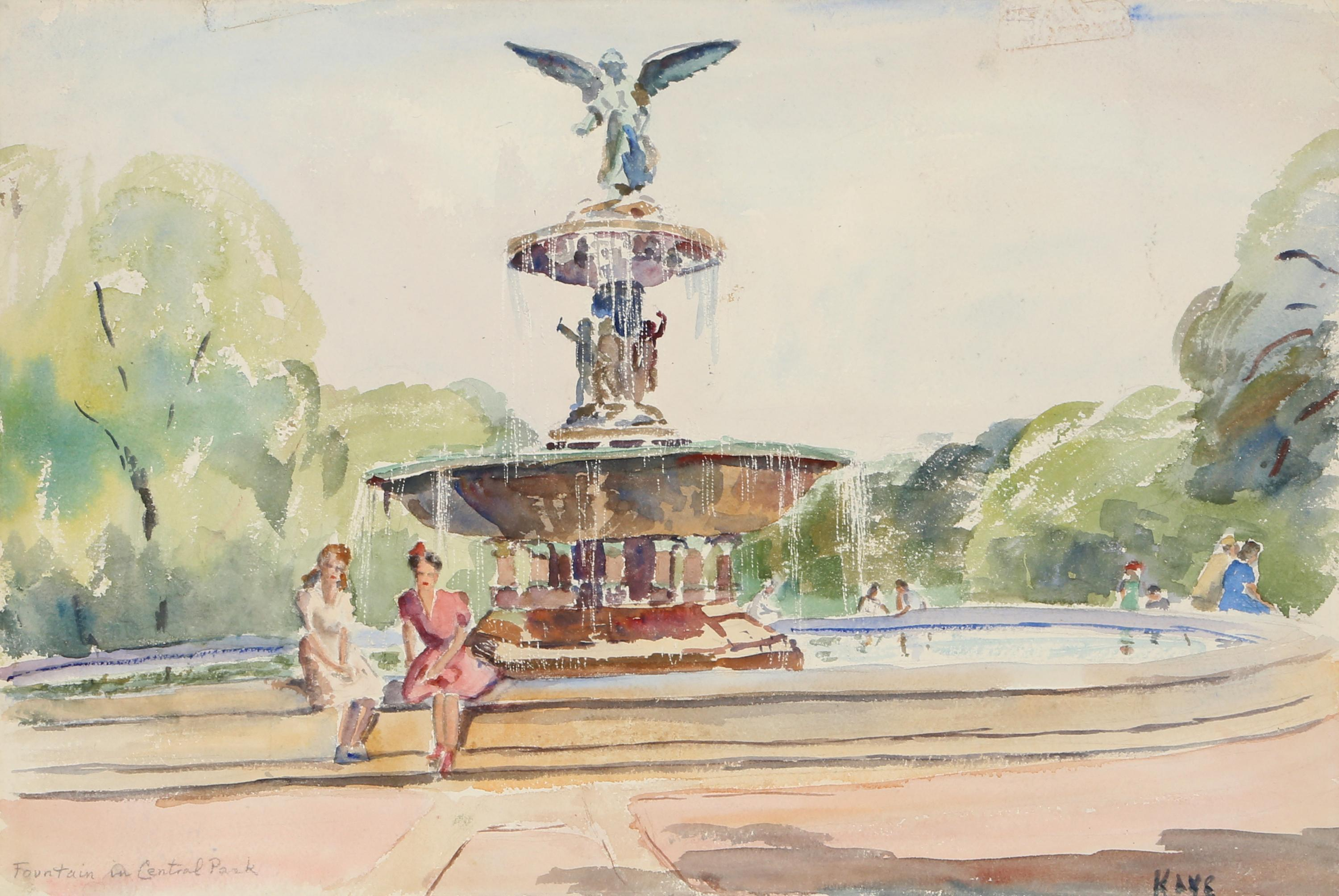Elizabeth Gutman Kaye, Fountain in Central Park, Watercolor Painting