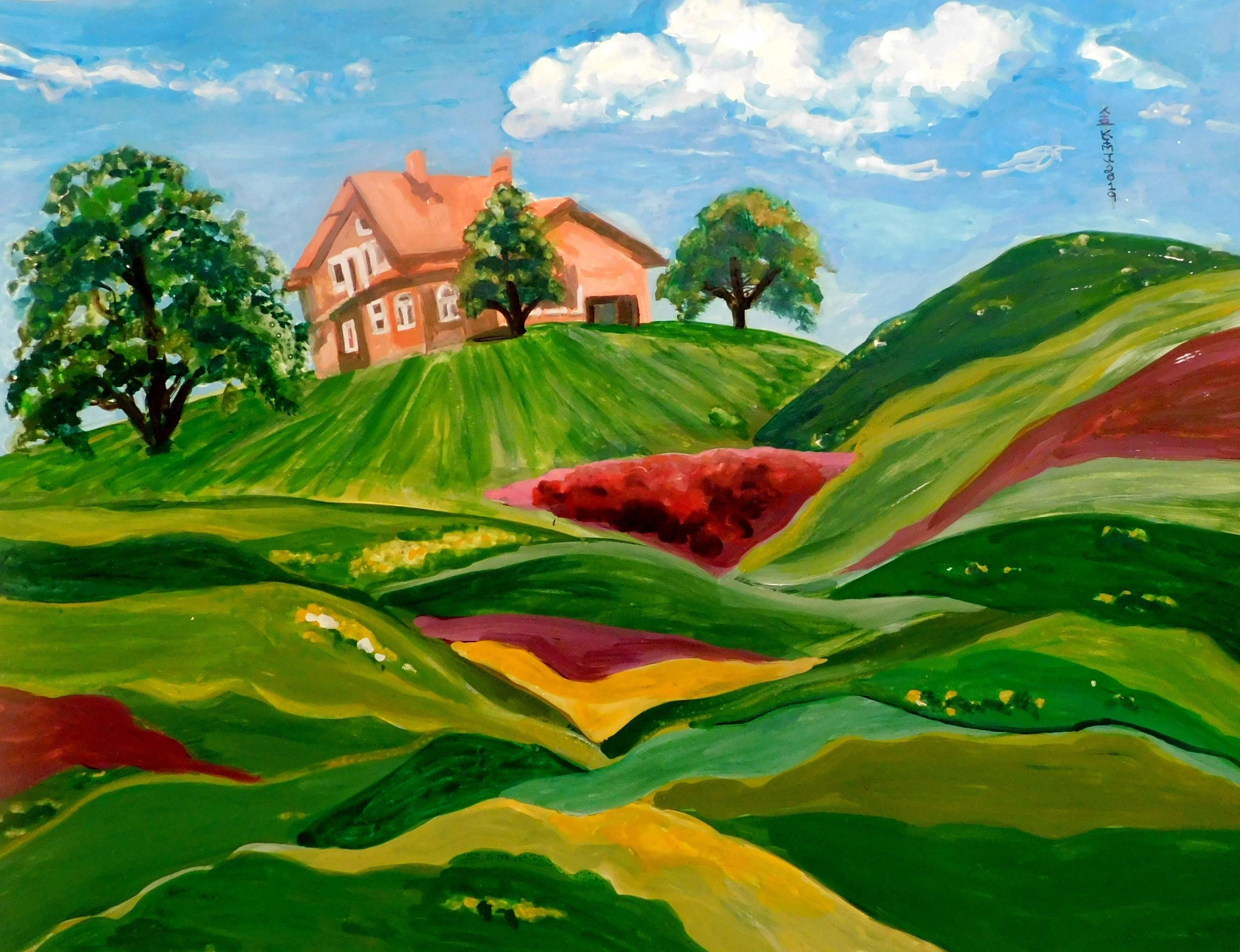 Jayce Kim, Green, Green Grass of Home, Watercolor Painting
