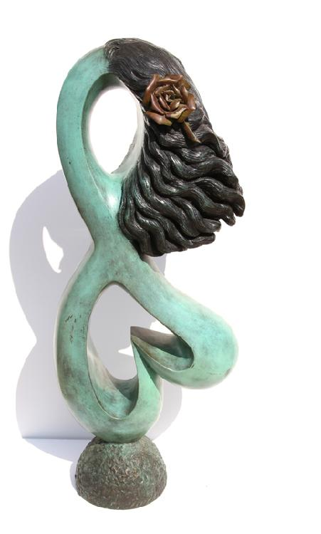 Ellen Brenner-Sorensen, Woman with Rose in her hair, Bronze Sculpture