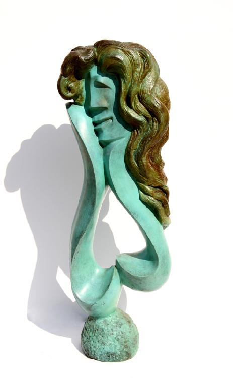Ellen Brenner-Sorensen, Woman with Blonde hair, Bronze Sculpture