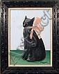 Vestie Davis, Cat with Pink Bow, Oil Painting