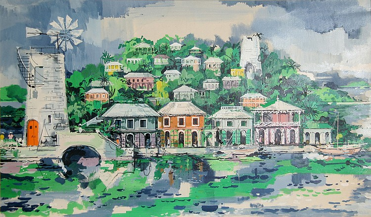 Jeremiah Goodman, Tropical Village, Watercolor