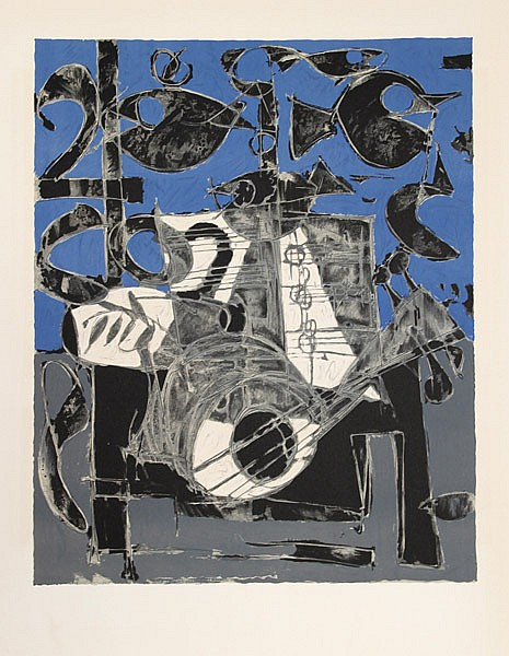 Claude Venard, Man with a Guitar, Lithograph