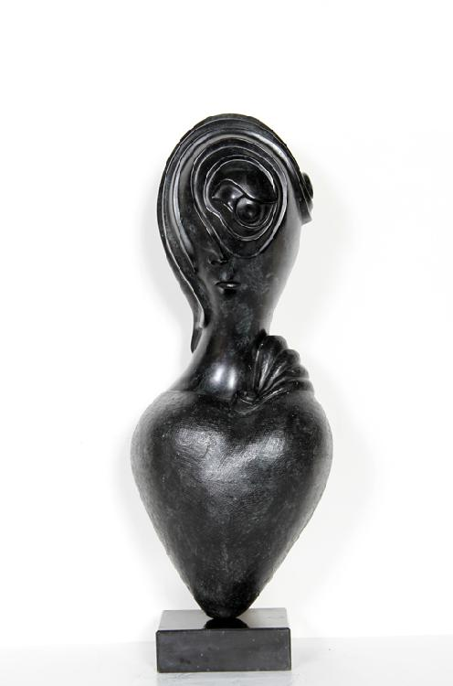 Russian Broken Hearted Woman, Cast Resin Sculpture