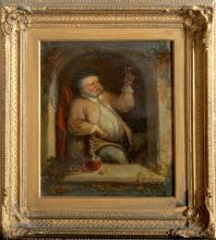 C. Waller, Portrait of a Man Toasting with Wine, Oil Painting