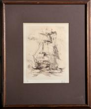 Unknown Artist - Tall Ship, Etching