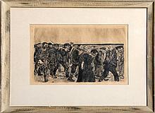 Kathe Kollwitz, Weberzug, Plate 4, Ein Weberstand (Weaver Revolt) Series, Etching