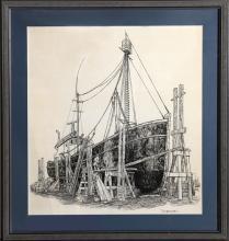 Drake, Tall Ship (Francis D), Lithograph