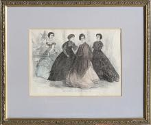 Unknown Artist - Paris Fashions for February 1867, Hand-Colored Lithograph