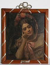 Hans Temple, Portrait of Woman in Pink Bonnet, Poster