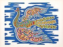 Edouard Dermit, Flying Peacocks, Silkscreen