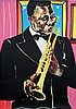 Frederick J. Brown, Louis Armstrong, Serigraph, Frederick James Brown, Click for value